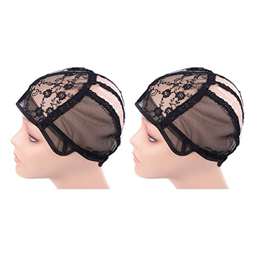 2 pcs/lot Wig Caps for Making Wigs with Elastic Band on the Back Easy Weaving Wig Caps with Plastic (Black S 21 inch)