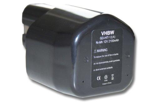 vhbw batería Ni-MH 2100mAh (12V) para herramientas Rothenberger Romax Pressliner y Hitachi EB12, EB1224, EB12B, EB12G, EB12M.