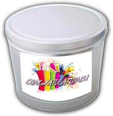 New Congratulations Gourmet Popcorn Tin - 2 Gallons, Traditional 3-Way Combo