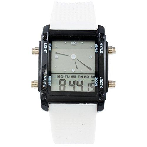 Souarts Weiß Silikon Armband LED Sportuhr Armbanduhr Digitaluhr Analog Armreif Uhr mit Batterie