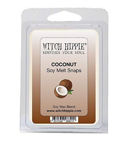 Witch Hippie Coconut Scented Wickless Candle Tarts, 6 Natural Soy Wax Cubes, A Delightful Fresh Coconut Aroma That Reminds You of Suntan Lotion