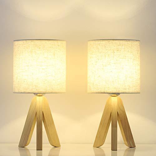 Juego de 2 lampara de mesita de noche, pequeñas lámparas de mesa de dormitorio, trípode de madera lampara mesita noche vintage para dormitorio, estudio, habitación de niños