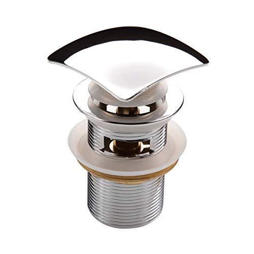 Hoogwaardige Click Clack universele afvoergarnituur chroom hoekig van messing met pop-up ventiel met overloop voor wastafel/wastafel 1 1/4