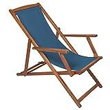 Charles Bentley Folding FSC Eucalyptus Wooden Deck Chair Beach Sun Lounger Traditional Teal