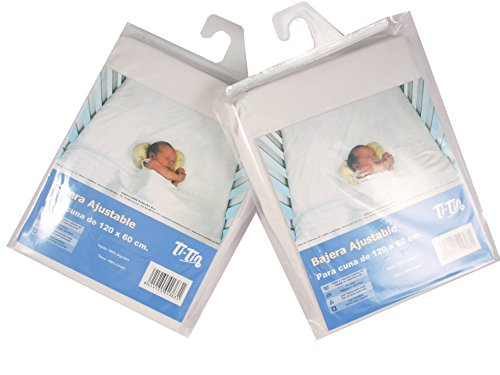 Ti TIN - Pack de 2 Sábanas Bajeras para Cuna 100% Algodón, Lote de 2 Sábanas Bajeras Ajustables con Elásticos para Bebé, 60x120 cm, 2 Unidades Blancas