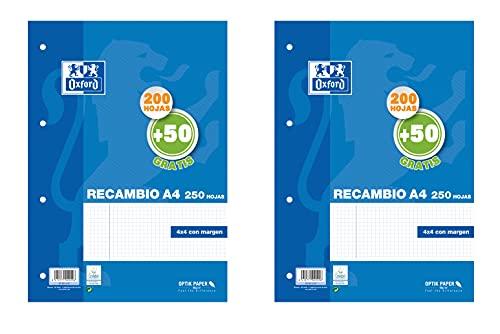 Hojas cuadriculadas A4, Pack de 2 Recambios Oxford, 200 + 50 hojas cada uno, Cuadrícula 4 x 4 [Exclusiva Amazon]