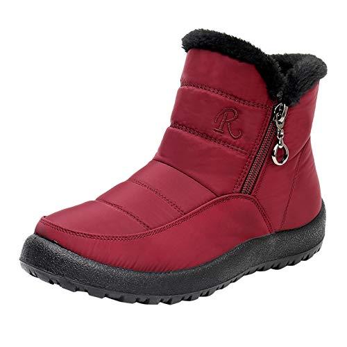 Yowablo Schneeschuhe Frauen Winter Plus Samt Warme Baumwollschuhe Soft Bottom Cloth Cotton (40,rot)