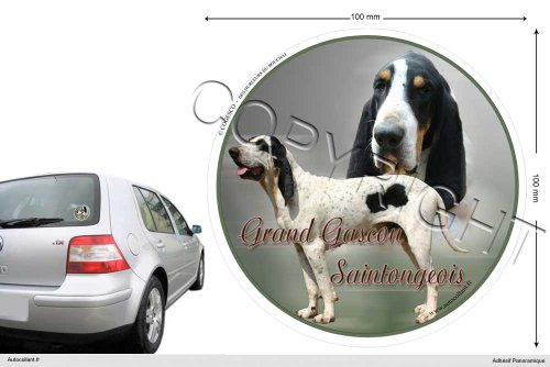 Autocollant chien circulaire 10 Cm Grand-Gascon-Santongeois