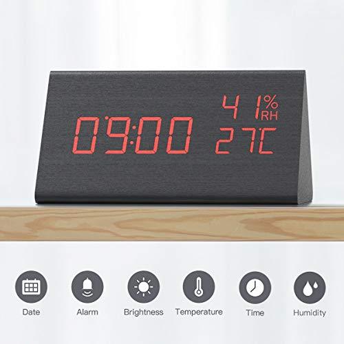CACAGOO Wecker Digital, wecker Kinder, Digitaluhr Tischuhr Holz USB Wiederaufladbar funkwecker mit Snooze/Temperatur- und Feuchtigkeitserkennung/Sprachsteuerung Funktion, 3 Helligkeit