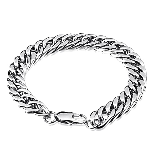 XIABME Mens Stainles Steel Vintage Gothic Wolf Head Curb Chain Biker Bracelet,Norse Mythology Animal Amulet Cuff Bangle,Norse Scandinavian Medieval Pagan Jewelry (Color : Silver, Size : 18cm)