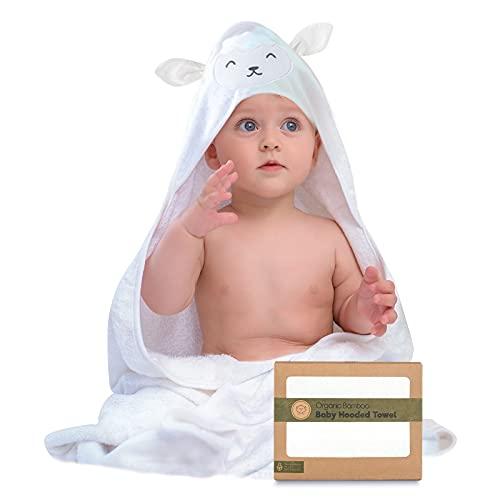Toalla de baño - Toallas con capucha por keababies - Suave para bebé con capucha toalla de bebé de bambú orgánico para infantil - Toalla natural (Cordera)