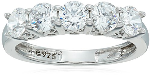 Amazon Collection Platinum-Plated Sterling Silver Round-Cut 5-Stone Ring made with Swarovski Zirconia (1.25 cttw)  Size 7
