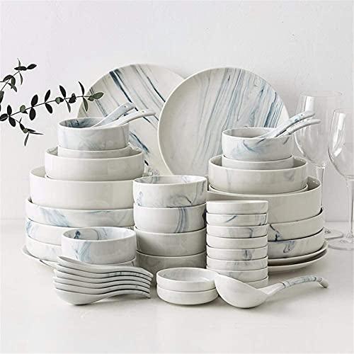 Juego de Platos, Conjunto de vajillas de 56 piezas: servicio de mesa para 10- incluyendo placas / conjuntos de tazón / cuchara, vajilla establecida para la fiesta familiar. Use resistencia a alta temp