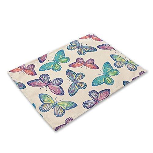 Platzsets Tischset Mode Blume Schmetterling Muster Tischmatte Küche Dekoration Tisch Serviette Für Hochzeit Tischmatte Tischset Esszubehör 15