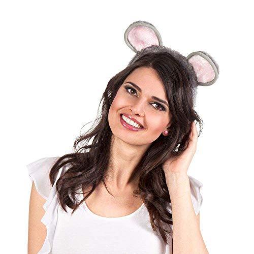 Boland 52280 - Haarreif Maus, Tiara mit Ohren, Plüsch-Haarreif, Mäuschen, Katze, Bär, Kostüm, Karneval, Mottoparty