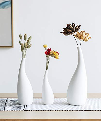 Haucy 3er Set Blumenvasen Weiß, Keramik Vasen für Pampasgras Deko, Japanische Deko Vasen Set für Wohnzimmer Tisch Zuhause Büro