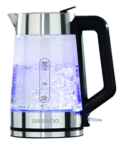 Daewoo SDA2102 1.7L 3000W Easy-Fill Kettle with Illuminated Glass Body, 360° Swivel Base and Water Level Gauge, Built-In Safety Features for Left and Right Handed, Silver