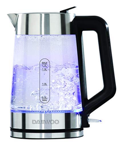 Daewoo Wasserkocher mit beleuchtetem Glaskörper, 3000 W, 1,7 l, 3000 W, 360 ° drehbarer Sockel und Wasserstandsanzeige, integrierte Sicherheitsfunktionen für Links- und Rechtshänder