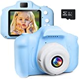 Elctman Kids Camera for Toddler Digital Camcorder Camera Rechargeable and Portable Children Toy Camera 2 Inch for Child's Birthday Gift Camera Ages for 3 4 5 6 7 8 9 Years Old with 32G SD Card/ Blue