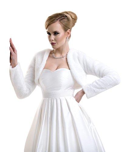 Lacey Bell Damen Brautjacke Pelz Bolero Kunstlichem Fell Braut Pelzimitat Jacke FFJ-18