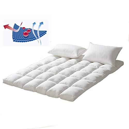 ZLBIN Futon Mattress,Microfibre Mattress Topper, Supersoft Anti Allergenic Mattress Pad Breathable Washable Hotel Quality Bed Topper ,Elasticated Corner Straps,150cm×200cm