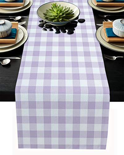 Cotton Linen Table Runner Lavender Buffalo Check Plaid Dresser Scarves Non-Slip Runner Kitchen Tablecloth for Dinner Parties Wedding Home Decor Farmhouse Style 13x70inch