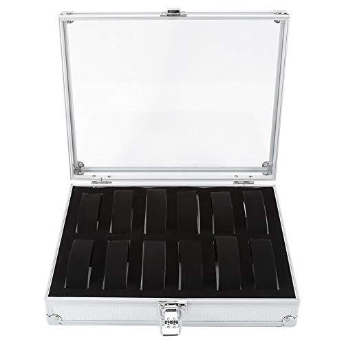 Brrnoo Uhrenbox, 1 Stück 6/12 Raster Slots Neue Aluminium Rechteck Uhr Schmuck Display Aufbewahrungsbox Organizer zum Sammeln von Uhren oder Schmuck(12 Steckplätze)