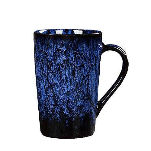 ZANZAN Taza de café acristalada de Horno Creativo, Taza de café de cerámica de 360 ml, Taza de Taza de Bebida Multifuncional para Bebidas frías/Bebidas Calientes-5 Colores (Color : Blue)