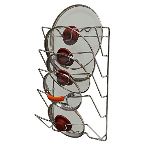 Saucepan Pot Pan Lid Storage Rack Holder | Wall or Cabinet Door Mounted To Save Space | Sturdy And Heavy Gauge Metal | Elegant Chrome Finish | Dimensions: 17'' x 10.75'' x 4'' | Holds 5 Lids