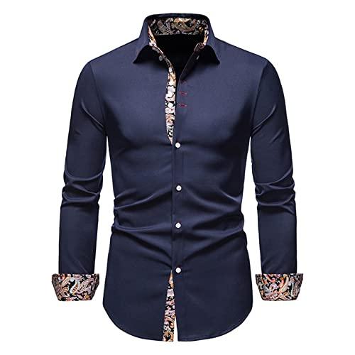 Ocuhiger Camisa De Vestir Clásica A La Moda para Hombre Camisas Formales De Negocios De Corte Estándar Regular Delgado con Botones Blusas De Manga Larga Blusa Estampado Patchwork Azul Marino