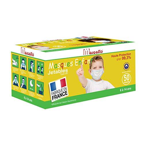 50 Masques Enfants Haute Protection 99,3% Type IIR - Jetables 100% Fabriqués en France
