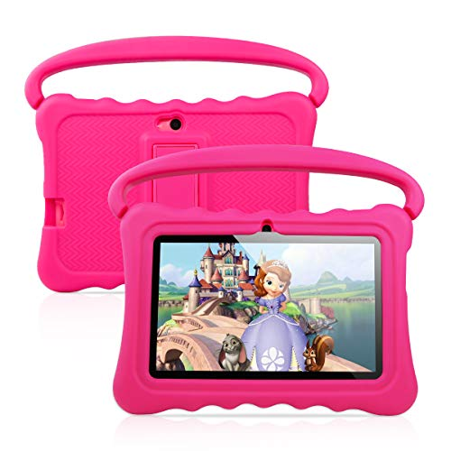 7 inch Kids Tablet PC Android 8.1 OS Learning and Entertaining Tablets for Kids 1GB RAM 16 GB Quad-Core 1.3Hz WiFi Tablet with Soft Shock&Kid-Proof Case (Pink)