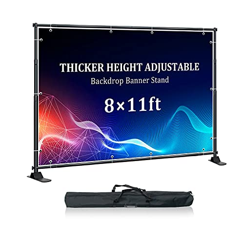 Golemas Adjustable Backdrop Banner Stand,8 x 11 ft Background Stand with Heavy Duty Base,Thicker Telescopic Backdrop Stand with Carrying Bag for Photo Shoot,Exhibitor Background Wall,Video Studio