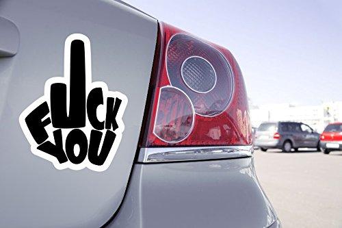 Zone-Stickers Sticker Voiture Doigt d'honneur Fuck You - 15cm x 12cm, Noir
