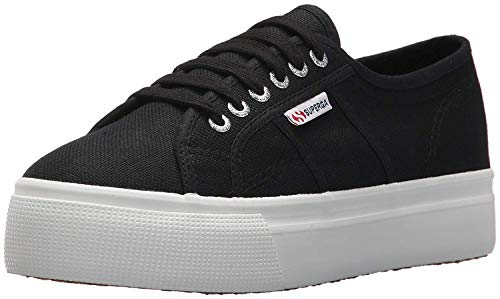 Superga womens 2790 Acotw Platform Fashion Sneaker, Black/White, 9.5 US