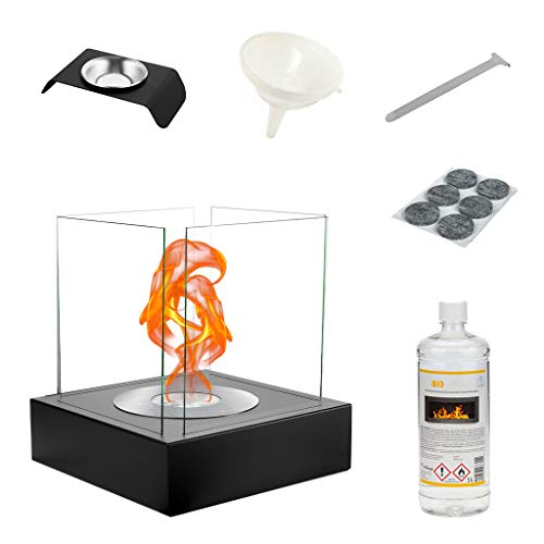 GMT - Small Tabletop Bioethanol Fireplace with Protective Tempered Glass - Non-Toxic Portable Decorative Box Heater for Outdoor or Indoor - Alternative for Lantern in Garden or Candles at Home - Set
