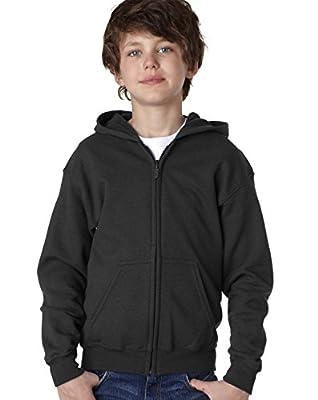 Fashion Gildan 18600B Youth Zip Hood Black Small