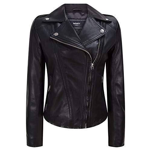 Infinity Leather Chaqueta Motorista de Cuero Real Estilo clásico en Color Negro para Mujer