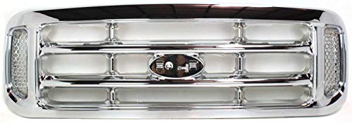 Evan-Fischer Grille Assembly Compatible with 1999-2004 Ford F-250 Super Duty Cross Bar Insert Plastic Chrome Shell and Insert