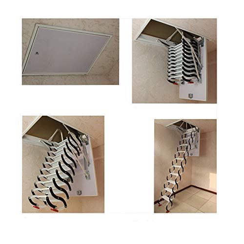 TECHTONGDA Loft Wall Ladder Stairs Retractable Attic Folding Extension Ladder for Ceiling Pulldown Telescoping Ladder Carbon Steel Blak and White 70x120cm