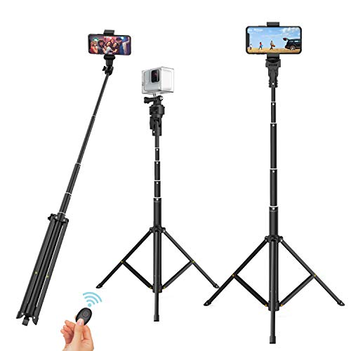 "Selfie Stick Tripod, 52"" Extendable Phone Camera Selfie Stick with Tripod Stand & Wireless Remote for Smart Phones, GoPro etc"