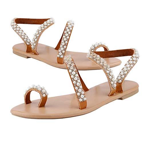 SJQ Sandalias Planas de Diamantes de imitación de Perlas Bohemias para Mujer Sandalias Planas con Cordones Sandalias Planas sin Cordones Zapatos Planos con Anillo en el Dedo del pie Sandalias el