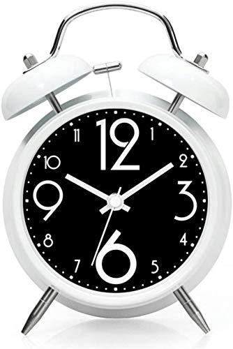 WERTYG Alarma ClockCreative Silencio Luminoso Negro y Negro de Noche Moda Hombre Perezoso del Reloj (Color: Blanco) Despertador