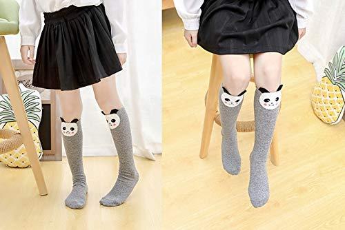 Calcetines para niñas Skarpetki para bebés, bonitos calcetines de algodón de dibujos animados de invierno conestampado de animales, hasta la rodilla, calcetines para niños pequeños Meia-panda-40cm