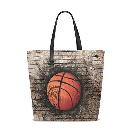LUPINZ Damen Handtasche mit Basketballmotiv in Backstein-Optik, modisch, wendbar, wasserdicht, Schultertasche