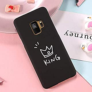 9Guu Phone Case for Galaxy S8 S8 Plus S9 S9 Plus Note 8 Note 9 Fashion Cute Cartoon Crown Letter King Queen Couple Phone Case (A, for Galaxy S9 Plus)