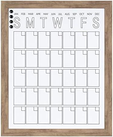 DesignOvation Beatrice Vertical Framed Magnetic Dry Erase Monthly Calendar 27x33 Brown product image