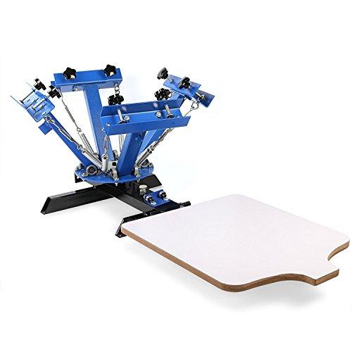 BuoQua Screen Printing Machine 4 Farbe 1 Station Siebdruckmaschine Single Rotary Siebdruck für DIY Shirt Metall Papier Glas usw.(4 Farbe 1 Station)