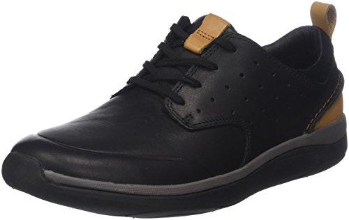Clarks Garratt Lace, Zapatos de Cordones Derby Hombre, Negro (Black Leather-), 45 EU