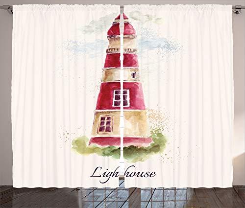 ABAKUHAUS Leuchtturm Rustikaler Gardine, Pastellfarben, Schlafzimmer Kräuselband Vorhang mit Schlaufen und Haken, 280 x 175 cm, Mehrfarbig